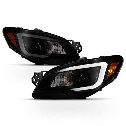 ACANII - For [Halogen Model] 2006-2007 Subaru Impreza LED DRL Tube Projector Headlights Headlamps Black Smoke Left+Right