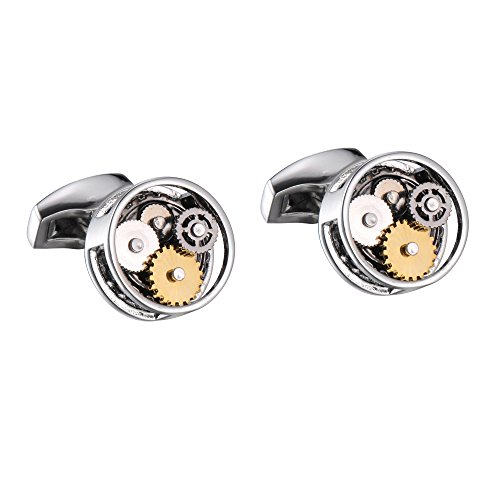 Watch Movement Cufflinks For Men With Round Shape In Durable Stainless Steel  Silver  Gold  Black