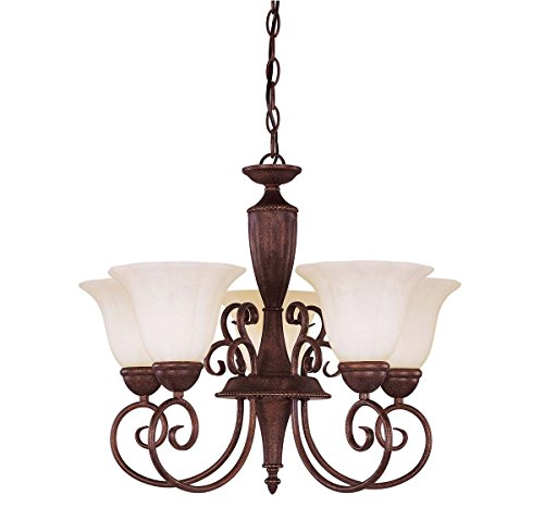 Savoy House KP-1-5001-5-40 Chandelier with Cream Marble Shades, Walnut Patina Finish