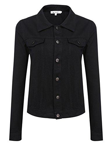 ANGVNS Damen Blazer Jacke Kurzblazer Kurzjacke Jeans Jeansjacke Baumwolle Hemdkragen mit Metallbutton für Herbst/Frühling Schwarz XL