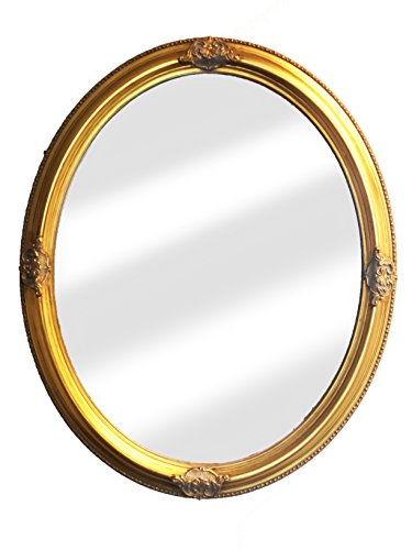 Raphael Rozen Hanging Wall Framed Colonial Baroque Styled Artisan Hand Carved Hanging Wall Mirror Elegant, Modern, Classic, Vintage 16×20, Oval Antique Gold with Silver