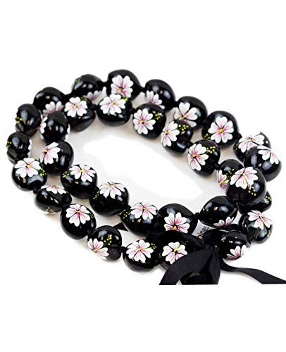 Hawaiian Kukui Nut Leis Beads Necklaces with Hand Painted Flower Adjustable 32 inches Lei for Men and Women (White Flower)