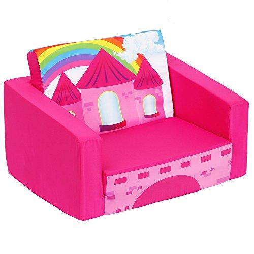 - MallBest Children's Flip Open Sofa Bed Kids Upholstered Foam Chair Toddler Recliner (Rose red/Castle)