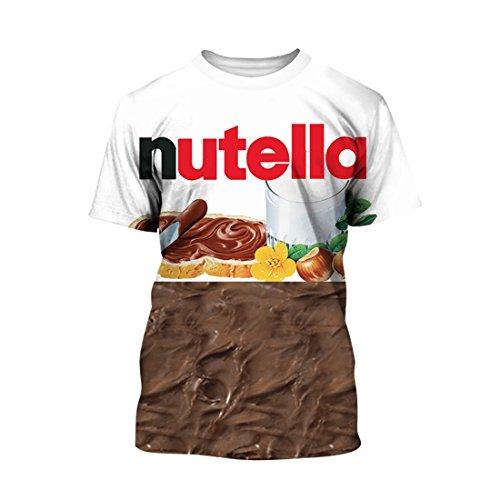 Boys Hot Sale 3D Printing Maple Pattern Shirt Fashion Dailywear Shirt Round Neck L Nutella