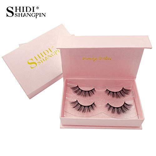 SHIDISHANGPIN 2 pairs natural long 3d lashes hand made false eyelashes Messy Flirty eyelash extension Makeup Curly Lightweight False Eyelashes # 84