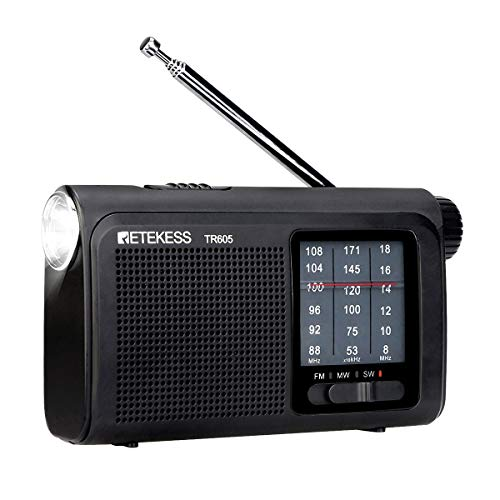 Retekess TR605 Portable Radios with Best Reception AM FM SW Battery Operated with LED Emergency Flashlight Rechargeable Battery Earphone Jack (Black)