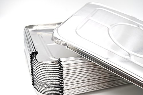 (40 Pack) Premium Lids for Chafing Pans 9'' x 13'' Half Deep Pans l Top Choice Disposable Aluminum Foil Tin Pan Lid Perfect for Roasting Potluck Catering Party BBQ Baking Cakes Pies by Fig and Leaf (Image #1)