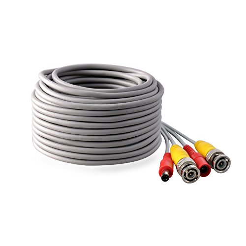 IHOMEGUARD Pre-made All-in-One 100 Ft BNC Video and Power Cable Wire Cord with Female Connector Gray Coaxial Cable Extension Wire Cord for DVR CCTV Security Camera Surveillance System