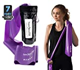 Super Exercise Band Heavy Purple 7 ft. Long Latex Free Resistance Bands Door Anchor Set, Carry Pouch, E-Book. for Home Gym, Strength Training, Physical Therapy, Yoga, Pilates, and Chair Workouts.
