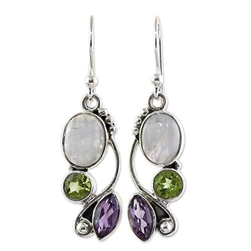Drop Earrings Amethyst Hook (Women Vintage Faux Moonstone Emerald Marquise Round Amethyst Dangle Hook Earrings)