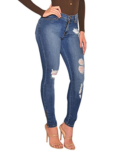 Stretch Jeans Skinny Denim Strappati Come Immagine Donne Pantaloni cASfWqwUU