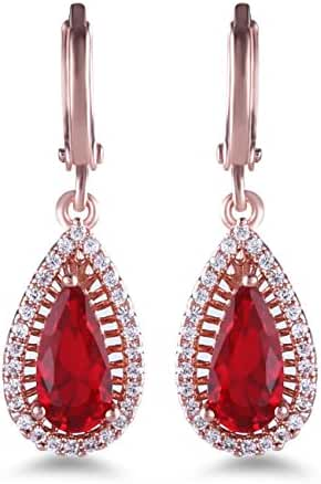 GULICX Fashion Jewellery Rose Gold Tone Clear Zircon Teardrop Leverback White Dangle Earrings