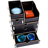 Periea Desk Top Drawer Organizer - 2 Sizes Available - Black … (3 Double / 1 Single Drawers)