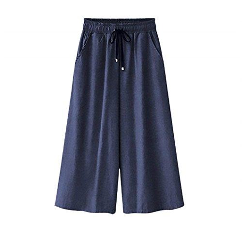 7 8 Jeans Donna Eleganti Moda Trousers Monocromo Estivi Primaverile Mode di marca Tasche Anteriori Vita Elastica High Waist Baggy Lunga Pantaloni Larghi Tempo Libero Pantaloni Accogliente Dritti Blu Scuro