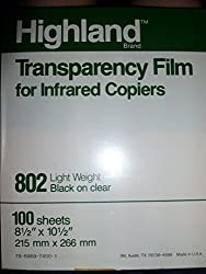 Transparency Film For Infrared Copiers