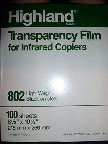 Transparency Film for Infrared Copiers (3m Highland Transparency Film)