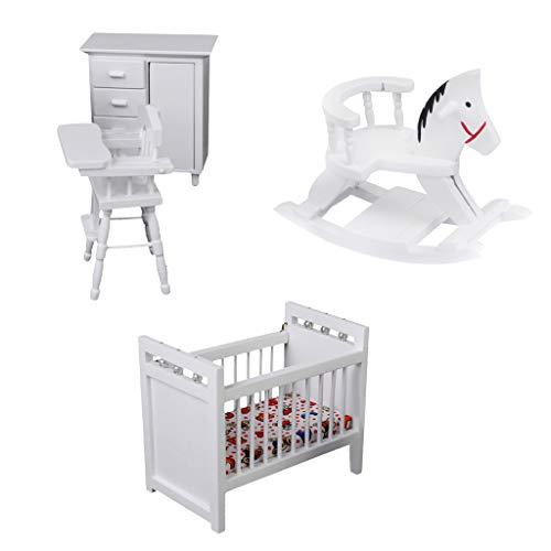 (Fenteer Children's Nursery Room - 1/12 Scale Dollhouse Bedroom Furniture Set)