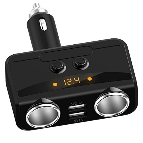 Cigar Head (2-Socket Cigarette Lighter Adapter Dual USB Car Charger Individual Switch 12V/24V Outlet Car Socket Splitter for iPhone iPad Samsung and more, Black)