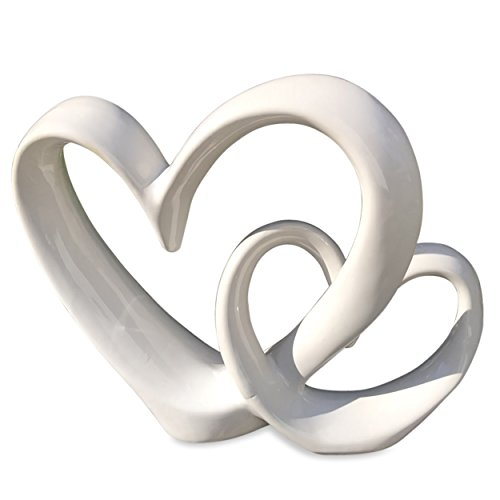 The Eternity Double Heart Sculpture, Decorative Modern Art, White Glazed Stoneware, 10 ¼ L x 2 ¾ W x 8 ¾ H Inches, By Whole House Worlds