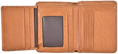 Mens Bifold Wallet RFID Vintage Genuine Leather Slim Front Pocket Wallet For Men