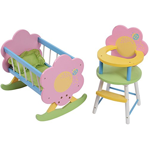 "CP Toys Wooden 17 1/2"" L. x 14"" W. x 15"" H. Doll Cradle & 18 1/2"" H. x 10"" W. High Chair for 12"" to 15"" Size Dolls"
