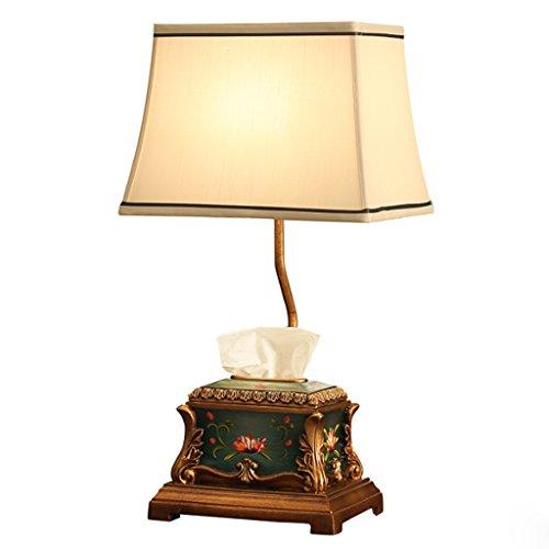 MILUCE European Storage Table Lamp Bedroom Bedside Lamp Creative Paper Towel Storage Box Desk Lamp ( Color : Dimmer switch )