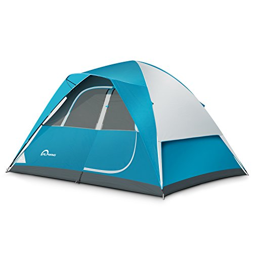 Person Dome Tent (Camping Tent - 6 Person Dome Tent,Portable Foldable Waterproof Outdoor Festival Camping Dome Tent Kit (10' x9') ALPRANG (blue&white))