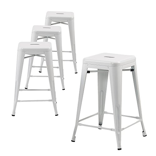 (Buschman Set of Four White 30 Inches Counter Height Tolix-Style Metal Bar Stools, Indoor/Outdoor,)