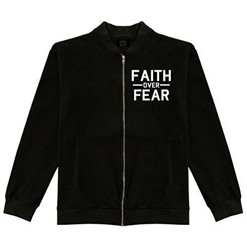 Faith Over Fear Mens Cotton Bomber Jacket Medium Black by Kings Of NY