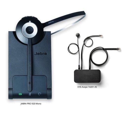 Jabra PRO 920 Mono Wireless Headset with EHS Avaya 14201-35 Cable, Bundle for Avaya Phones (1600 & 9600 Series) by Jabra