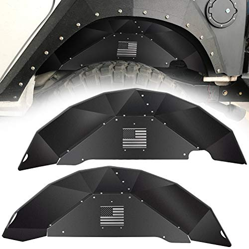 Black Rear Liner - Danti for Jeep Wrangler Rear Inner Fender Liners fit 2007-2018 2 Door & 4 Door Jeep Wrangler JK 4WD US Flag Logo Lightweight Aluminum Design Black