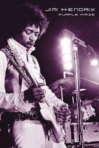 - Jimi Hendrix Purple Haze, framed black wood, white matte