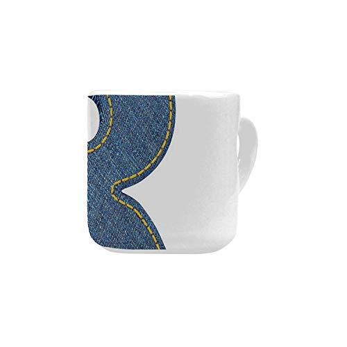 Letter R White Heart Shaped Mug,Retro Denim Style Alphabet Font Pattern with Capital R Letter Blue Jean Design Decorative for Home,2.56