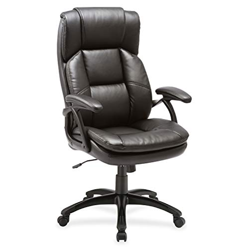 Lorell 59535 Black Base High-Back Leather Chair, 44.5