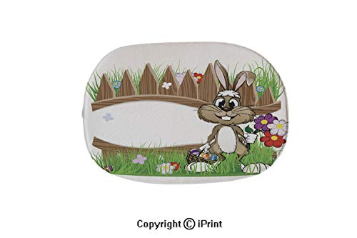 Oval Bath Mat Non-Slip Carpets Bathroom Doormats Floor Rugs Kitchen Mats,Easter Bunny with Egg Basket,19.7