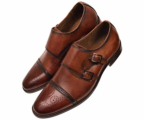 Asher Green Mens Brown Genuine Leather Classic Double Monk