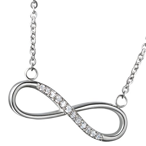 Flongo Women's Charm Stainless Steel Silver Infinity Symbol Elegant Pendant Necklace, 18 inch Chain, Girls Valentine Christmas New Year Endless Love Figure 8 Symbols Bracelet Necklace (Figure 8 Charm)