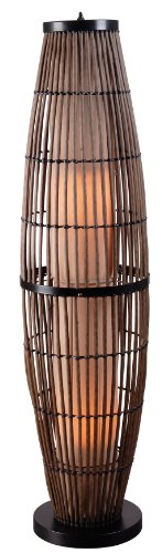 Transitional Outdoor Floor Lamp - Kenroy Home 32248RAT Biscayne Outdoor Floor Lamp, Rattan Finish with Bronze Accents