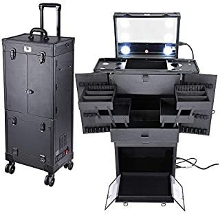 Byootique Black Rolling Makeup Case with Mirror Light Pro Large Cosmetic Artists Hair Stylist Barber Organized Trolley Lockable