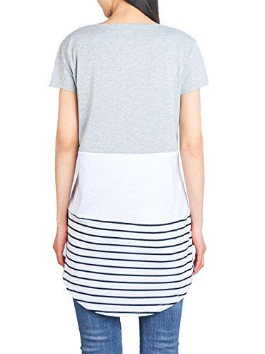 Tunique Gris05 plisse Courtes Floral Manches DSUK Manches Tee Shirt Bouton Longues xwZqPAgI