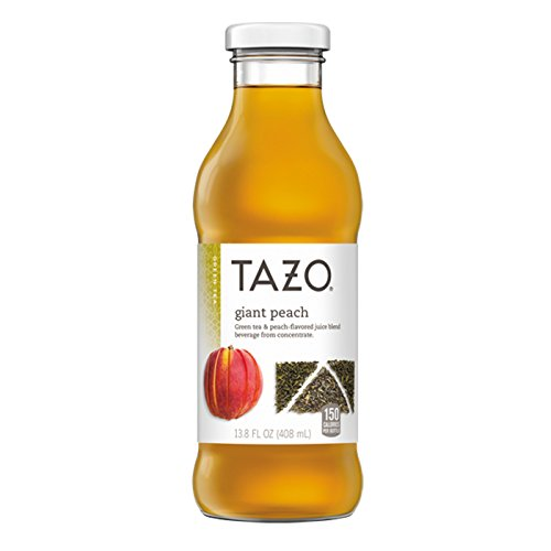 Tazo Iced Tea, Giant Peach, 13.8 Ounce Glass Bottles, 8 Pack by TAZO