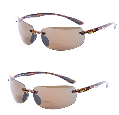 2 Pair of Lovin Maui Wrap Polarized Nearly Invisible Line Bifocal Sunglasses (Polarized - Tortoise/Tortoise, - Line Glasses See