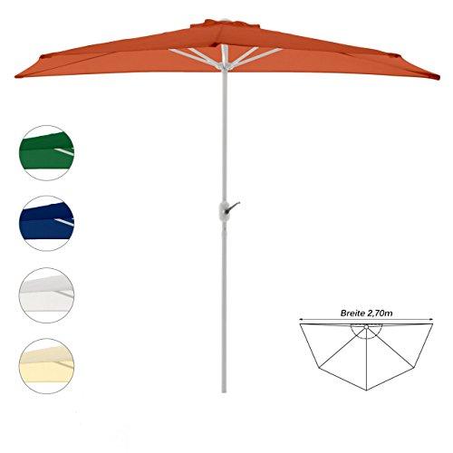 Balkon Sonnenschirm Schirm halbrund Gartenschirm Sonnenschutz 2,7m Sonnenschutz (Orange), Tiefe 140cm, Polyester 160 g/m², Gewicht 5kg