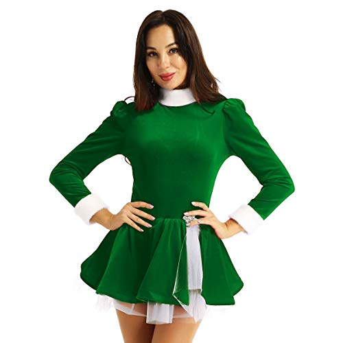 winying Womens Velvet Christmas Ballet Dance Costume High Neck Long Sleeves Roller Figure Ice Skating Leotard Dress Green Small