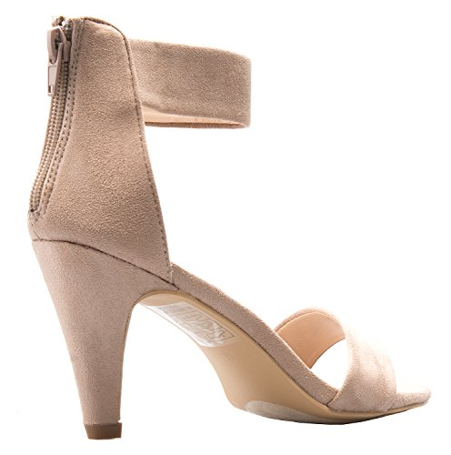 Ankle Heeled Peep Wedding Taupe Women's Party Heels High Open Delicious Sandals Dress Strap Toe IfFxgqPw