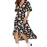 Sexy Dresses for Women Plus Size for Sex, Sexy Dresses for Women Plus Size Party,Fashion Women Boho Dress Flower Prints V Neck Waist Lace Up Short Sleeve Dress Coffee