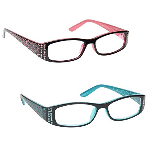 The Reading Glasses Company Pink Black & Tiffany Style Blue Readers Value 2 Pack Womens Ladies Inc Bag RR1-43 - Frames Tiffany Glasses And Company
