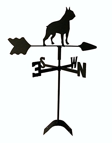 Boston Terrier Roof Mounted Weathervane Black Wrought Iron ()