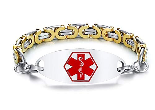 XUANPAI Free Engraving Personalized Medical Alert ID Bracelet with Two-Tone Byzantine Chain Link Chain