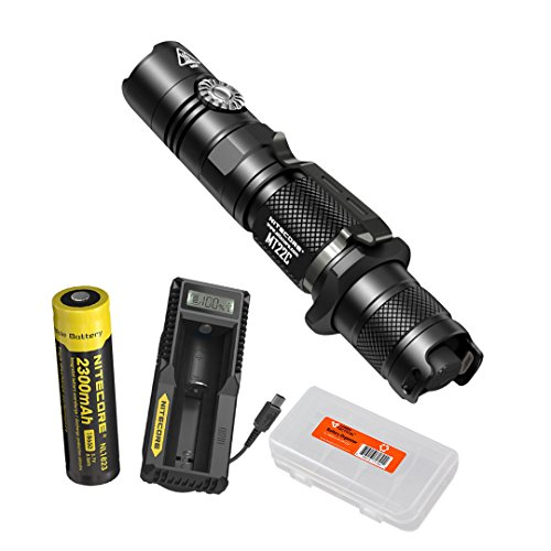 Nitecore MT22C 1000 Lumen Infinitely Variable Brightness Rotary Switch Compact Tactical LED Flashlight with Rechargeable Battery, UM10 Charger & LumenTac Battery Organizer